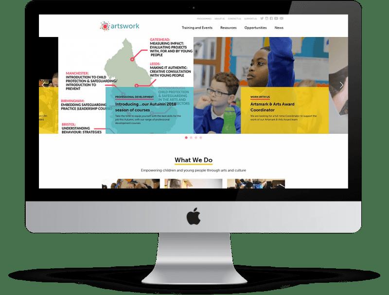 Artswork website desktop mockup