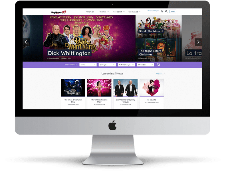 Mayflower theatre website desktop mockup