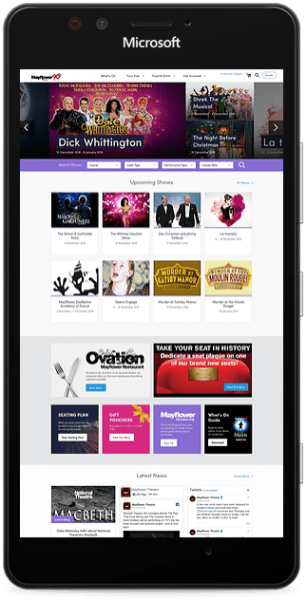 Mayflower theatre website smart phone mockup