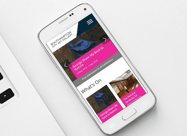 southampton city art gallery mobile mockup