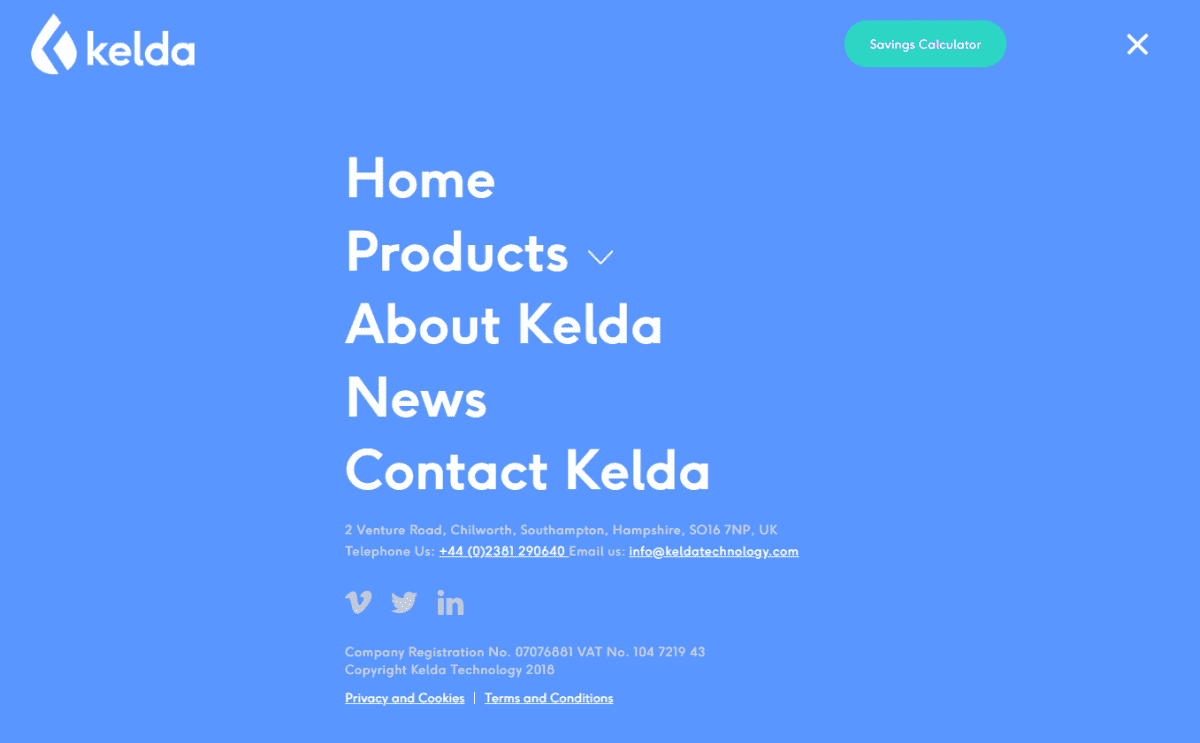 Kelda website design