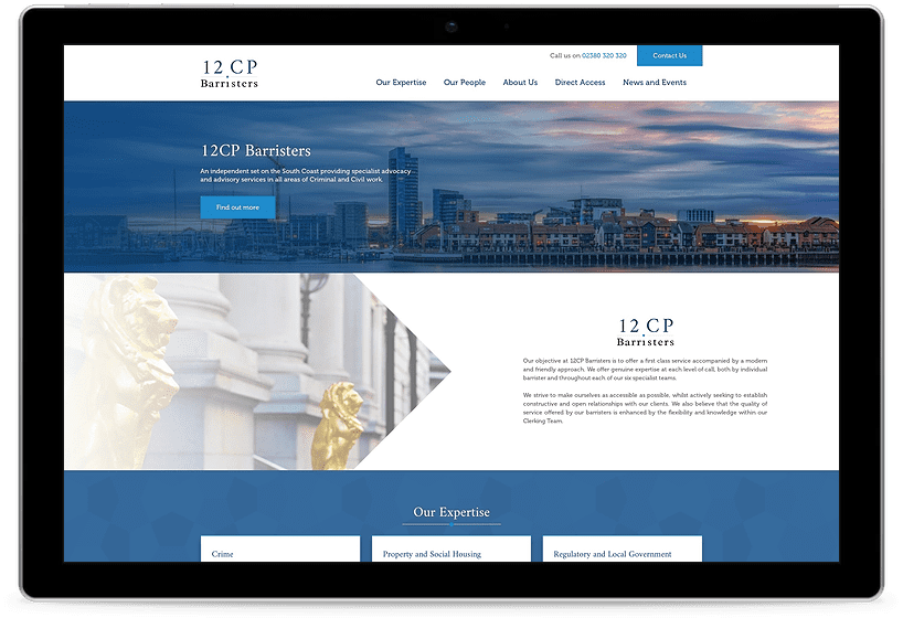 12CP Barristers website tablet mock up