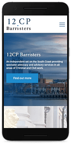 12CP Barristers website smart phone mock up