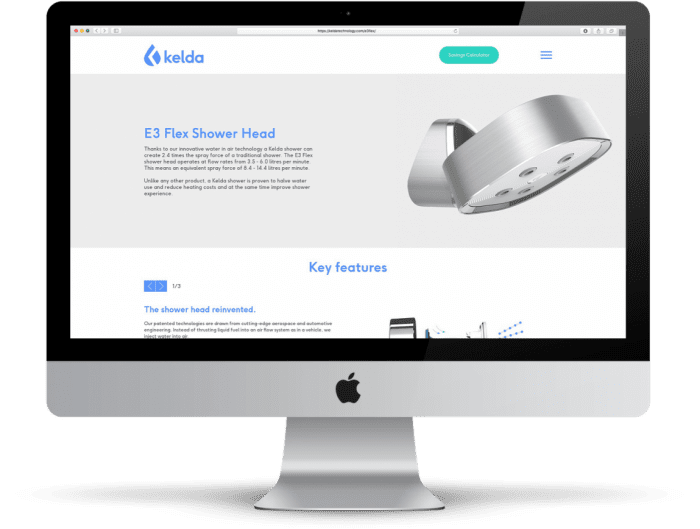 Kelda website desktop mockup