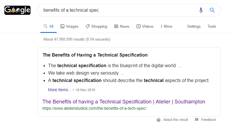featured snippet of technical spec