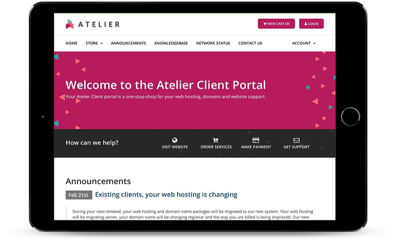 atelier support and maintenance portal